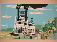 MAXWELL MAYS Print Mississippi River BOAT LANDING Steamboat Folk Art Americana