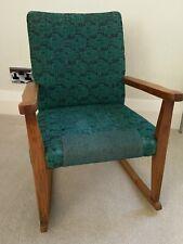 Childs Vintage Rocking Chair / Original Upholstery / Oak Frame