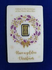 🔥 1 Gram The Royal Mint Christmas  .9999 Fine Gold Sealed BarCard Card RARE!