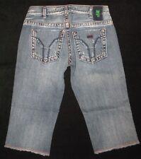 Miss Sixty Italian Jeans Crop Capri Straight Leg Shorts Sz 25  Distressed