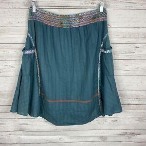 Thursday Island Womens Below Knee A-Line Skirt Size Medium Blue Teal Embroidered
