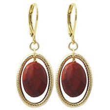 Gold Finish Red Jasper Semi-precious Gemstone Oval Dangling Earring
