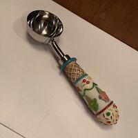 Ice Cream Scoop Hand Painted Handle Silver Tone Metal - Kitchen Gadget