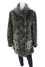 Sparkle + Fade Womens Faux Fur Cheetah Print Button Down Coat Brown Size L
