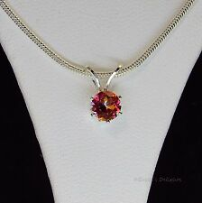 5mm Round Azotic Mystic Topaz Sterling Silver Pendant w/Chain Necklace .75cts