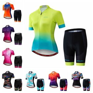 New Women Cycling Jersey Set Short Sleeve +5D Padded Bicycle Shorts Clothing Top