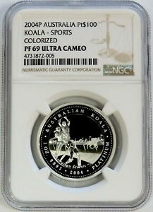 2004 P PLATINUM AUSTRALIA 109 MINTED $100 SPORTS COLORIZED NGC PROOF 69 UC