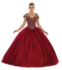 DESIGNER MASQUERADE OFF SHOULDER QUINCEANERA SWEET 16 PROM MILITARY BALL GOWNS