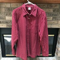 Old Navy Men's Red Plaid Shirt Long Sleeve Button Front 100% Cotton Size L
