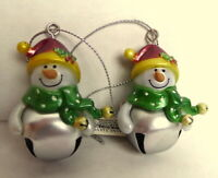 Ganz Jingle Bell Snowman Ornament BLANK No Name Lot of 2