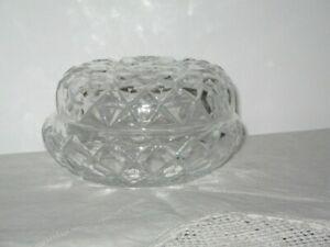 Elegant Sturdy Cut Glass Bowl w Lid For Dressing Table Circa 1960's 7cm High12cm