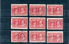 2 cent Tercentenary x 9 Used Canada lot