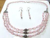 Natural faceted rose quartz briolette necklace..215 carats! & FREE earrings