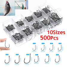 10-Sizes 500pcs Fish Hooks Fishing Black Silver Sharpened With Box Quality kit