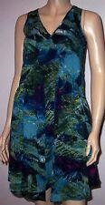 SOUTH Blue Green Multi Colour Sleeveless V Neck Summer Tea Party Dress Size 10