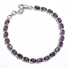 Natural mystic topaz 5x7mm oval gemstone tennis bracelet 925 sterling silver
