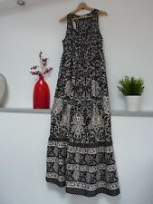 Ladies Lovely Peacocks Black Mix Floral Full Length Summer Maxi Dress 10, Vvgc