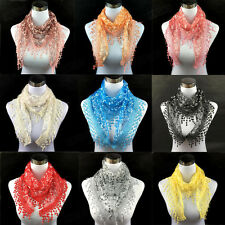 Fashion Elegant Womens Scarf Lace Floral Tassel Triangle Scarf Shawl Wraps Stole