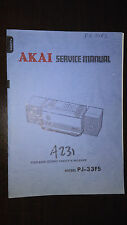 Akai pj-33 fs service manual original boombox ghettoblaster stereo radio book