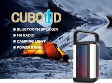 Cuboid Outdoor Portable Wireless Bluetooth Speaker w/ Power Bank LED FM radio