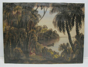 Antique 19th C Florida Palm Trees Oil Canvas Painting Pre-Highwaymen SIGNED yqz