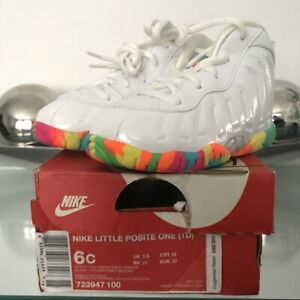 DS Nike Little Posite One Fruity Pebbles (TD) Toddler White Penny Foamposite 6c