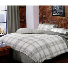 3 Pce Marlowe Grey Checkered Reversible Quilt Cover Set - Queen