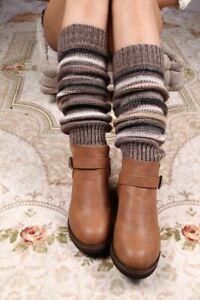 Women Stripe Leg Warmers Cashmere Knitted Fashion Crochet Gaiters Boot Cuffs