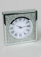 formano Tischuhr Brilliant 20 x 20 cm Uhr Dekoobjekt Silber Glas Quarzuhrwerk
