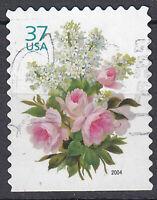 USA Briefmarke gestempelt 37c Love Blumen aus Markenheft Jahrgang 2004 / 1156