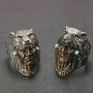 Wolf Head Satan Engraved Design With Red Onyx Turquoise Stone Men Punk Ring Type
