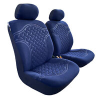 For Toyota Hilux SR SR5 Dual Cab 2009-2020 Seat Covers Suede Embossed Blue