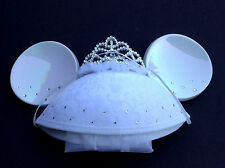 DISNEY PARKS Ear Hat MINNIE MOUSE Wedding BRIDE w/VEIL Tiara & Rhinestones NEW