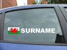x2 Rally Tag Name Surname Car Window Stickers Decals Wales Welsh Flag ref:16
