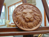 Lion  Head  medalion bas-relief   hard wood,sculpture,carving