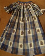 HANDMADE SMOCKED and EMBROIDERED   Infant girl  9 months blue plaid dress