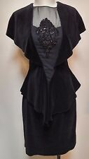 Vintage 80s Dress Velvet Sheer Open Back M / L Karen Okada Climax David Howard