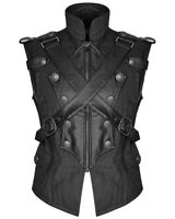 Punk Rave Mens Dieselpunk Military Waistcoat Vest Black Gothic Steampunk Leather