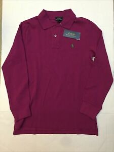 NWT Polo Ralph Lauren Classic Mesh Polo Shirt Fuchsia Youth Boy sz M 10-12