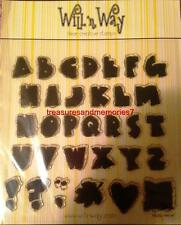 WILL N WAY Clear Stamps BLOCK ALPHABET Heart, Fall Leave, Quilt 33 Stamps