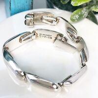 Vintage Taxco Mexico Sterling Silver Signed Modernist Curved Link Bracelet 38g