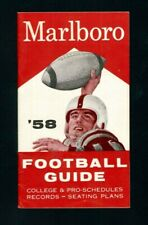 """1958 """"Marlboro"""" Football Guide with College & Pro Schedules, Records, etc.-MINT"""