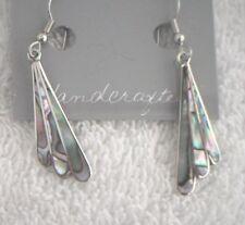Earrings Fan Abalone Shell Alpaca new thin narrow
