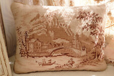 "16""Shabby Chic Fambulous Antique Country Living Scene Needlepoint Pillow Cushion"