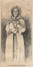 A9533 Vecchia donna del Caucaso - Xilografia - Stampa Antica 1906 - Engraving