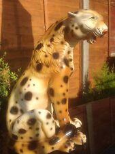 Large Vintage Art Pottery Leopard Figure Hand painted 34cm Tall
