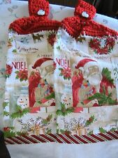 VINTAGE SANTA~2 CHRISTMAS HOLIDAY crochet top snowman buttons kitchn bath towels
