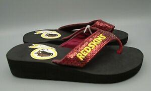 Washington Redskins NFL Sequined Flip Flops Size Girls Youth 3