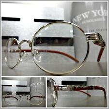 CLASSY SOPHISTICATED Clear Lens EYE GLASSES Small Oval Silver Wood Wooden Frame