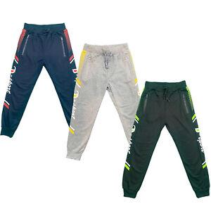 Boys Kids Zip Pocket Jogging Sports Tracksuit Bottoms Joggers Fashion Sport Gym